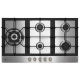 Parmco 900mm Stainless Steel Gas Hob, 4-Burner + Wok: HO-6-9S-4GW